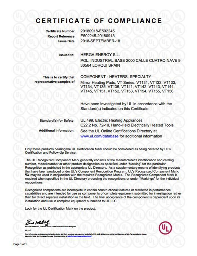 HERGA ENERGY CERTIFICADO UL E502245
