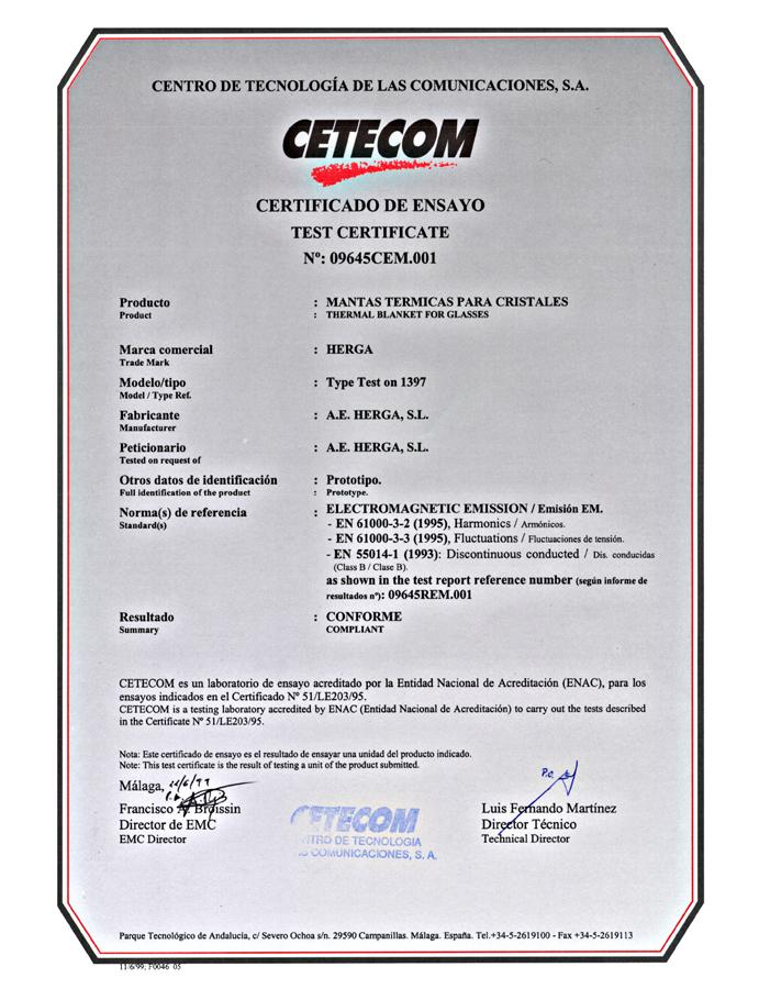 Herga Energy Certificado CETECOM