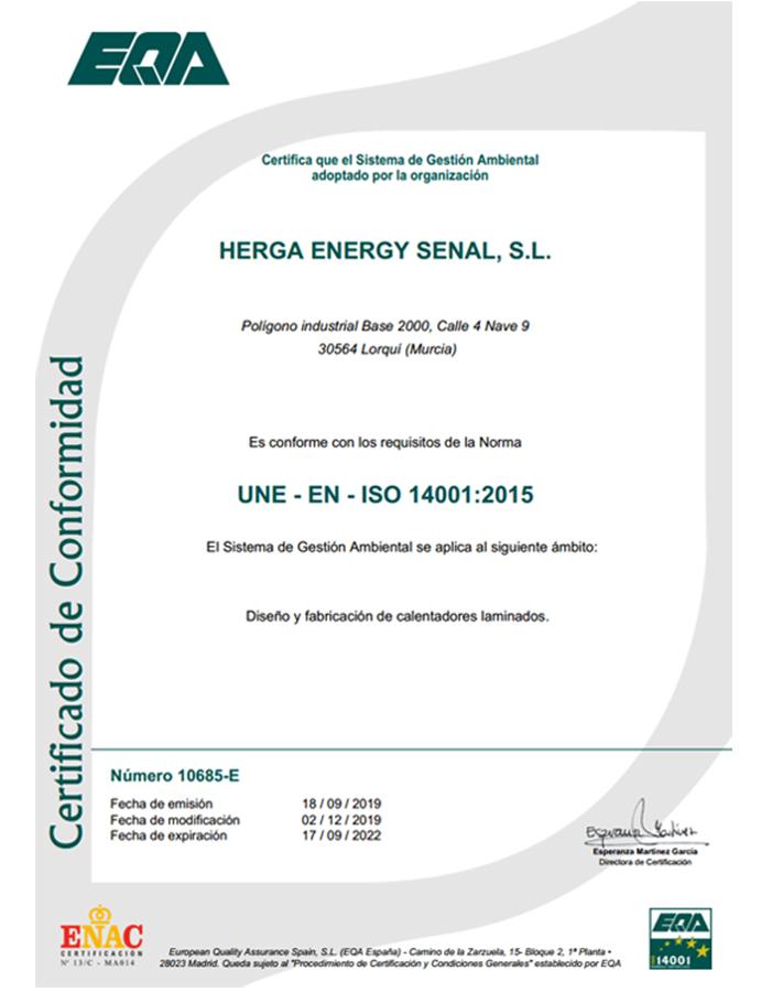 HERGA ENERGY CERTIFICADO ISO14001 2015