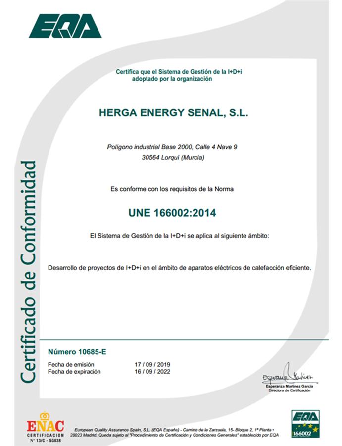 HERGA ENERGY CERTIFICADO ISO166002 2014