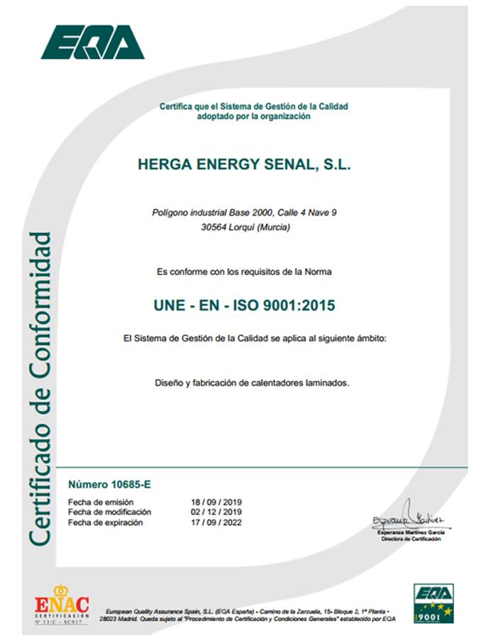 HERGA ENERGY CERTIFICADO ISO9001 2015